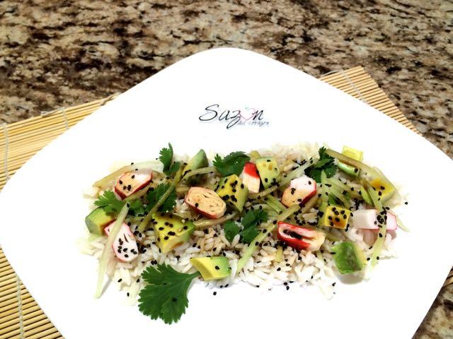 Ensalada de arroz con surimi saz n del coraz n - Ensalada de arroz light ...